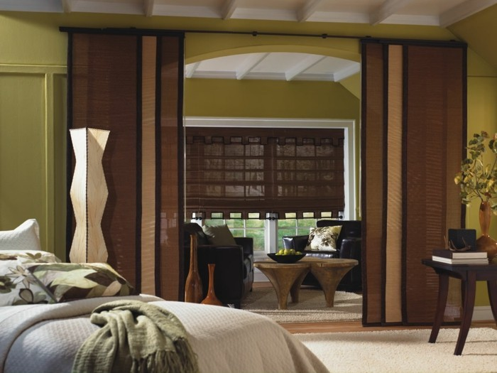 Flächenvorhänge schlafzimmer wohnzimmer abtrennen