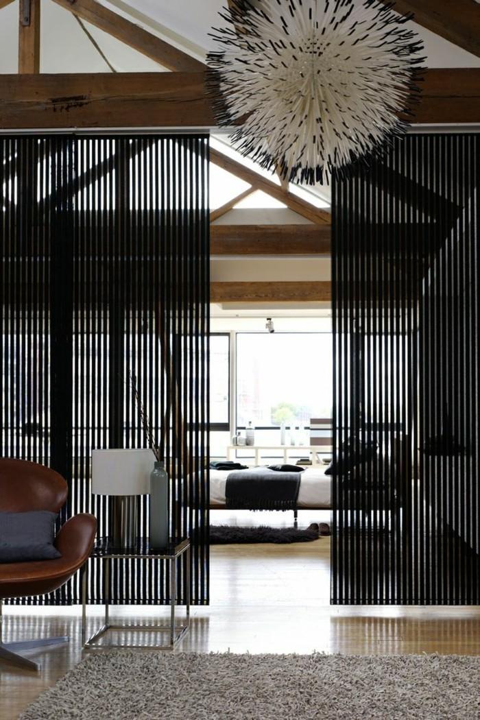 Flächenvorhänge schwarz schöne textur offener wohnbereich