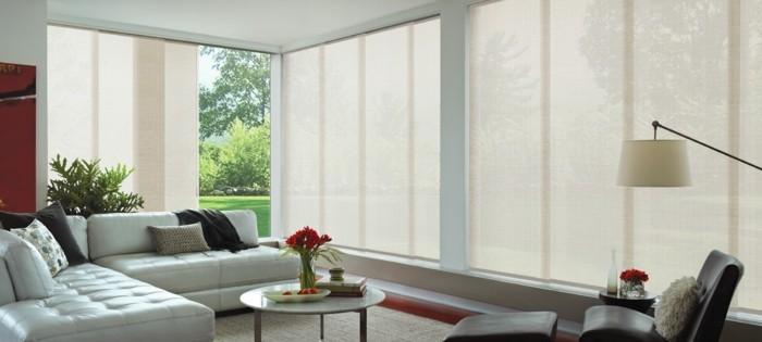 Flächenvorhänge wohnzimmer einrichten dekorieren schlichte farben