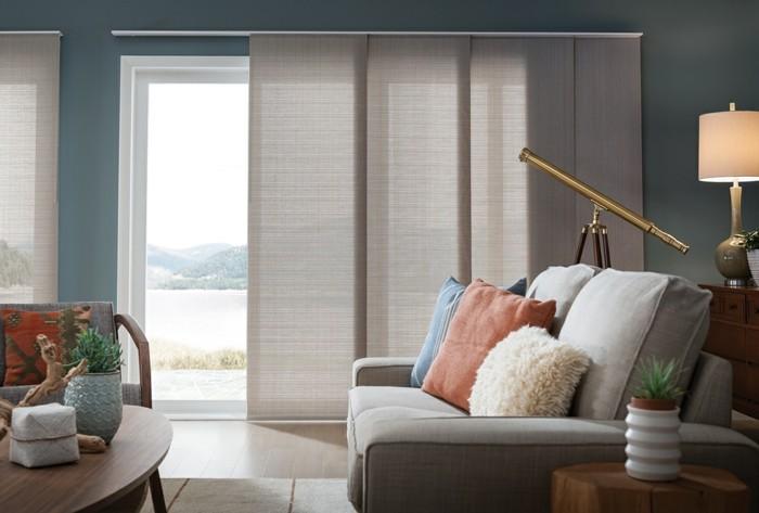 wohnzimmer einrichten ideen Flächenvorhänge wohnzimmer einrichten neutrale farben