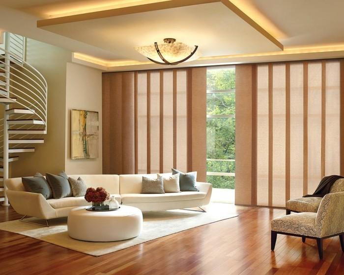 Flächenvorhänge Wohnzimmer Großes Fenster Verdunkeln