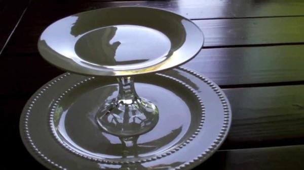 Glasteller Tortenständer selber bauen