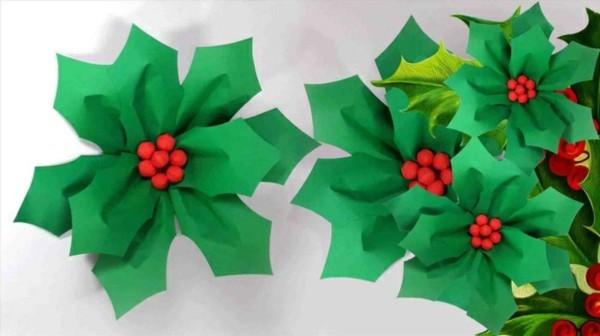 Grüne Weihnachtsblumen basteln mit Papier