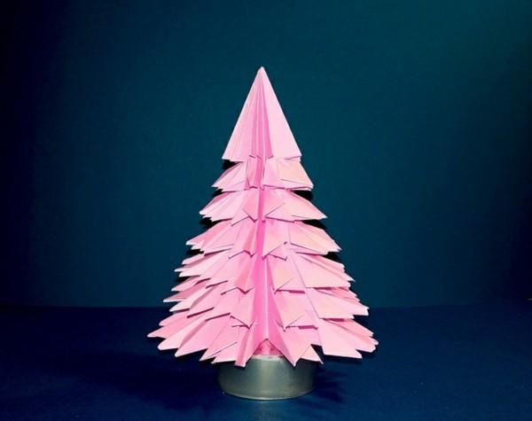 Grüner Tannenbaum Origami basteln mit Papier