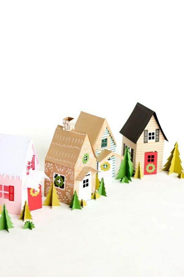 Häuser aus Papier basteln für Weihnachten