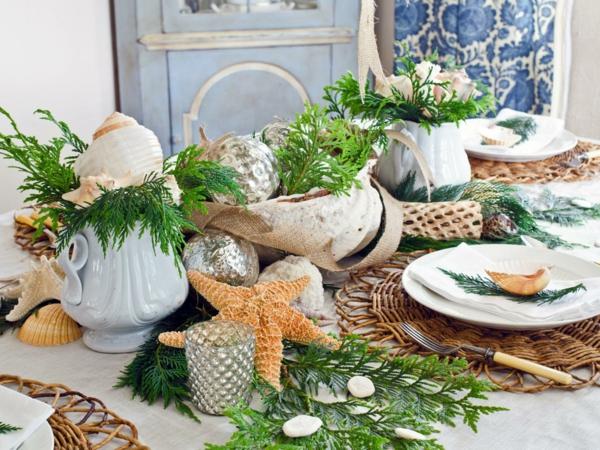 Ländliche Weihnachtsdeko originelle mediterran Idee