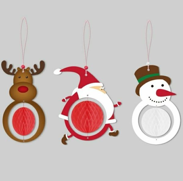 Lustige Weihnachtsfiguren aus Papier basteln