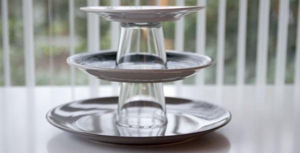 Metalltablett und Glas Etagere selber bauen