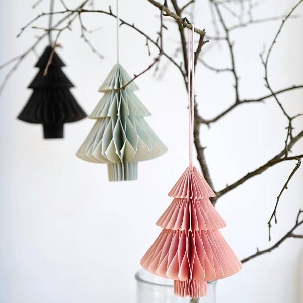 Origami Tannenbaum Figuren Weihnachtsbasteln mit Papier