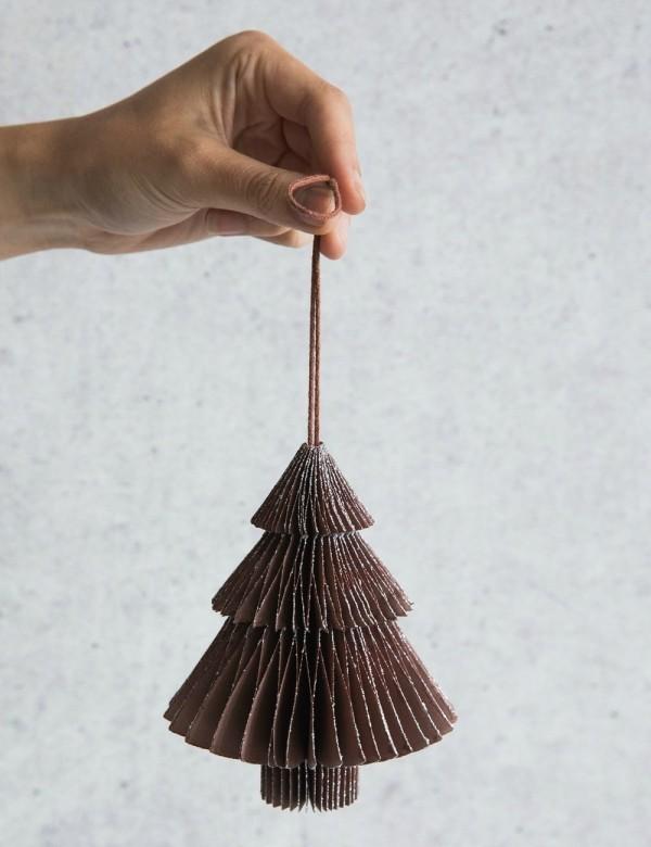 Origami Tannenbaum aus Pappe weihnachtsdeko selber machen