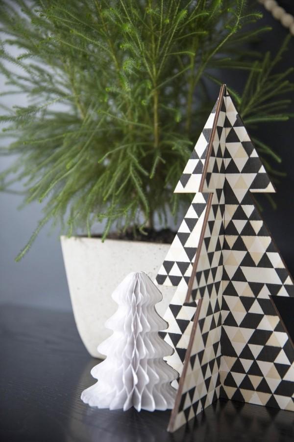 Origami Weihnachtsbasteln mit Papier Christbaumfiguren