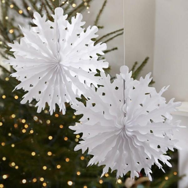 Origami Weihnachtssterne selber machen Tannenbaumschmuck