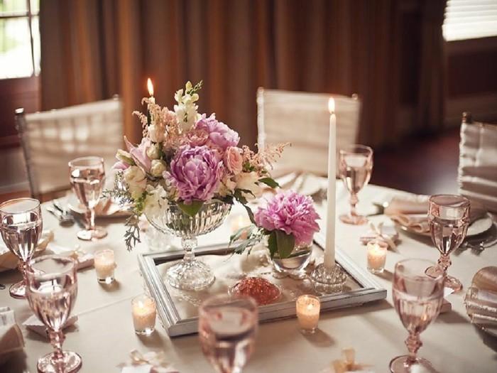 Rose Blumen für den Tischset Dekoration