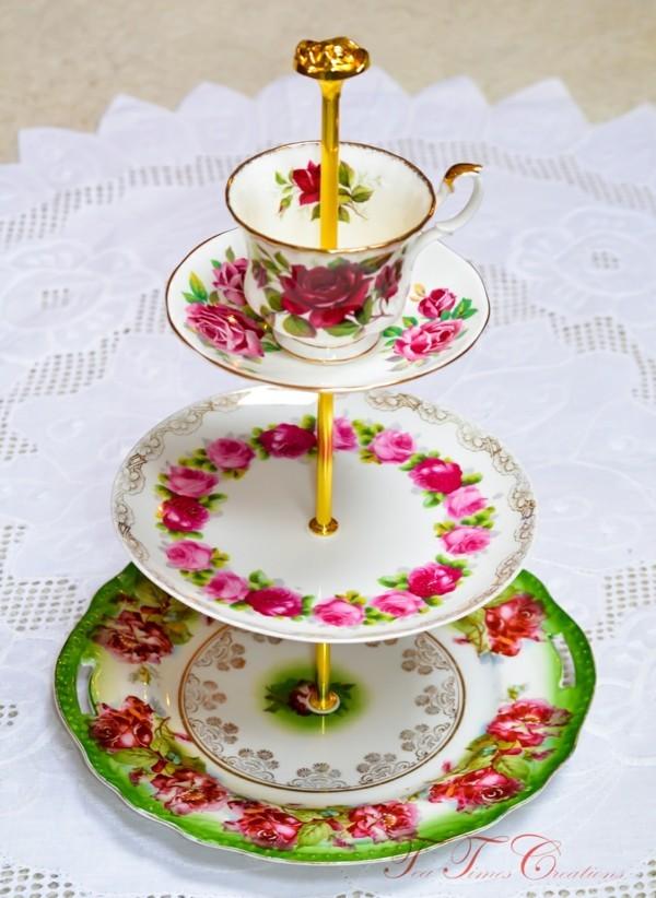 Rosen Motiv Cupcake etagere selber machen