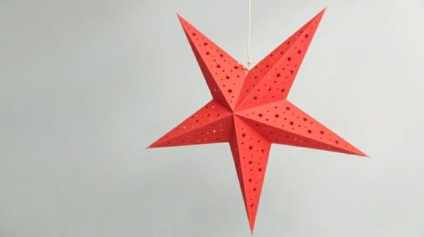Roter Weihnachtsstern basteln mit Papier