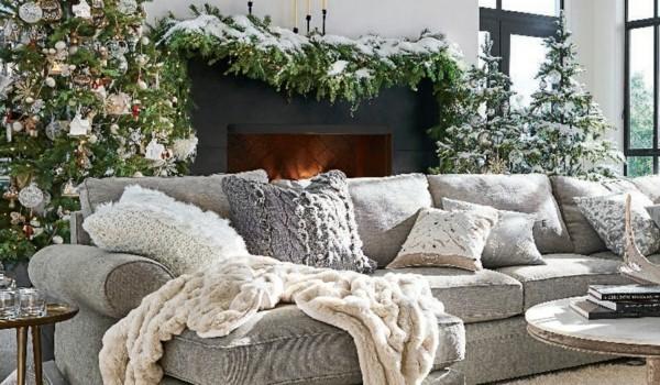 Rustikale Weihnachtsdeko mit Textilien und Möbeln