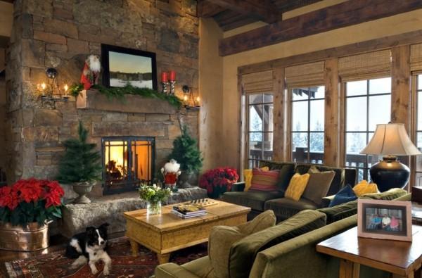 Rustikaler Raum mit dezenter Weihnachtsdeko
