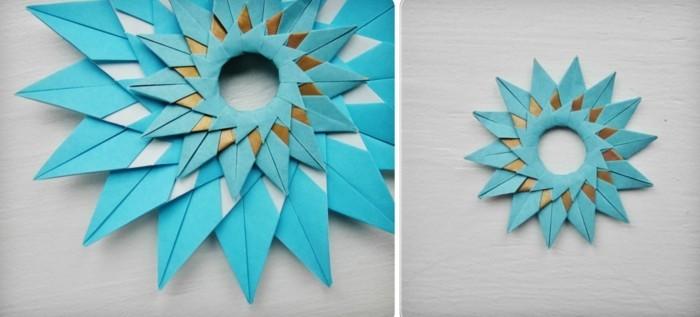 Sterne basteln für Weihnachten mitOrigami Anleitung weihnachten dekoration schritt 10