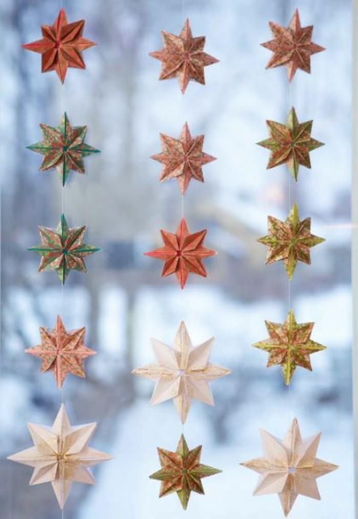 Sterne basteln für Weihnachten mitOrigami Anleitung weihnachten girlande