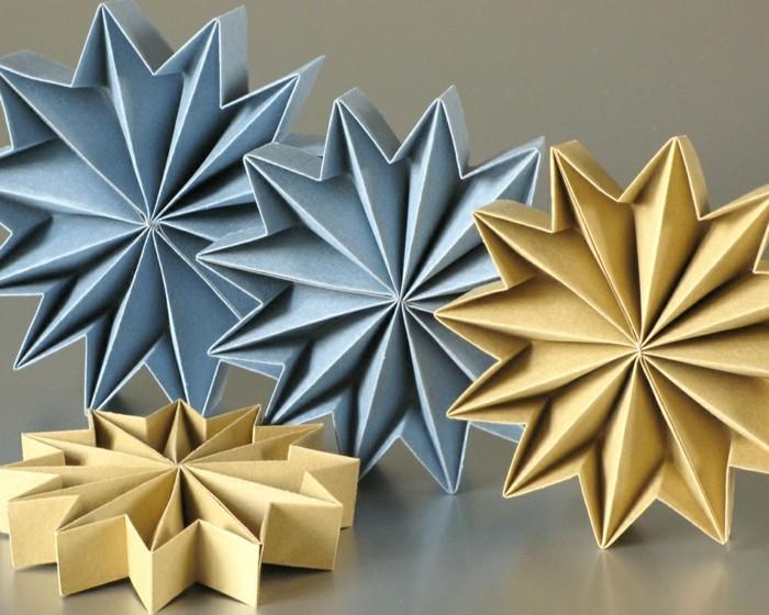 Sterne basteln für Weihnachten mitOrigami Anleitung weihnachten wanddekoration leporello basteln