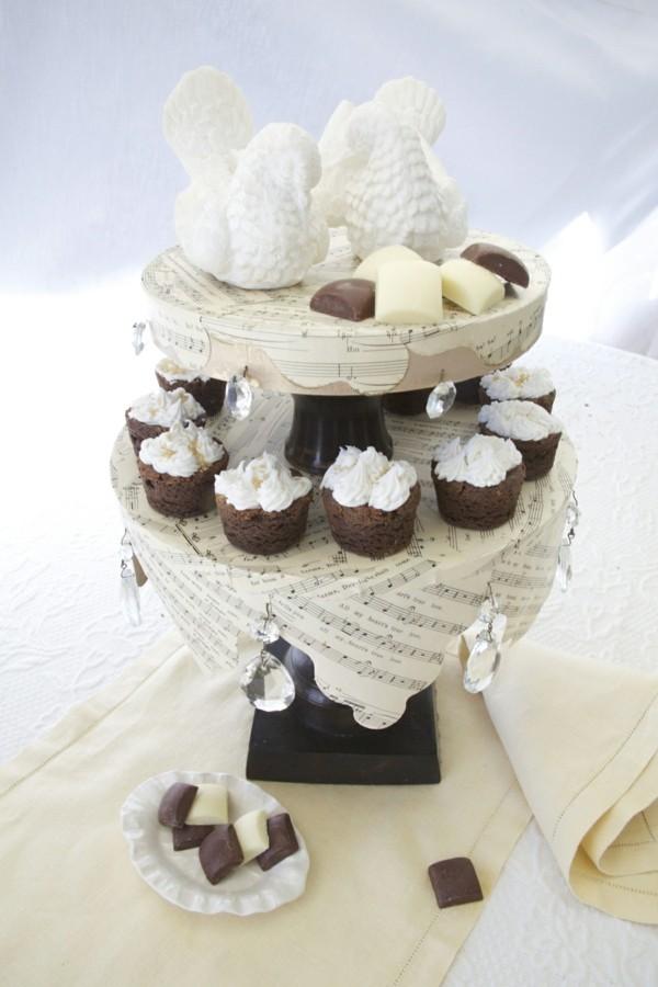 Vintage Cupcake Etagere Musiknoten Tauben