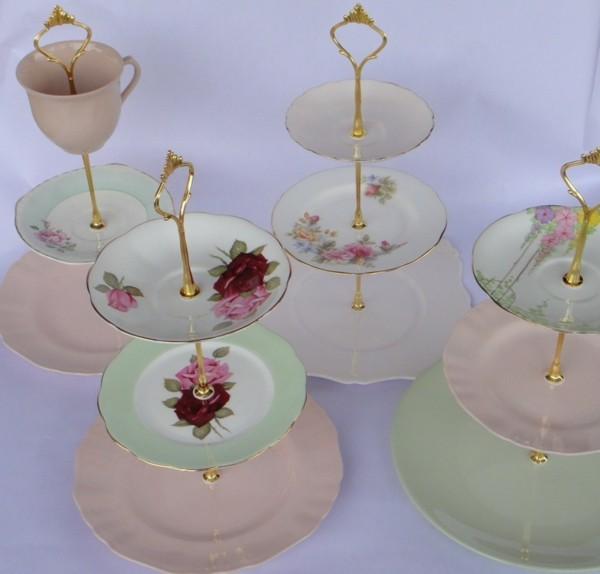 Vintage Teller Etagere für Cupcakes