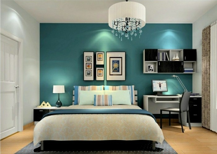 Wandfarbe Petrol Schlafzimmer Akzentwand