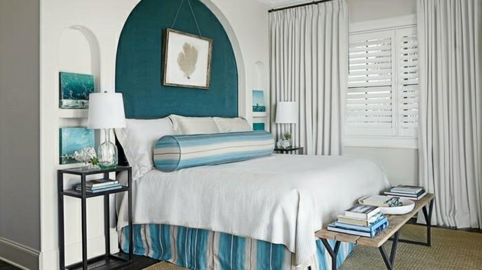 Wandfarbe Petrol akzente setzen weißes schlafzimmer