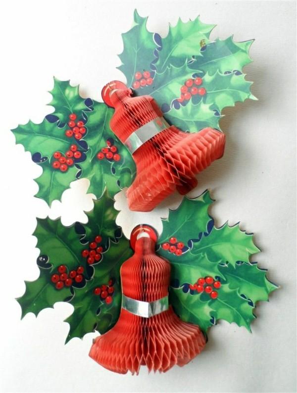 Weihnachtliche Figuren in rot und grün basteln mit Papier