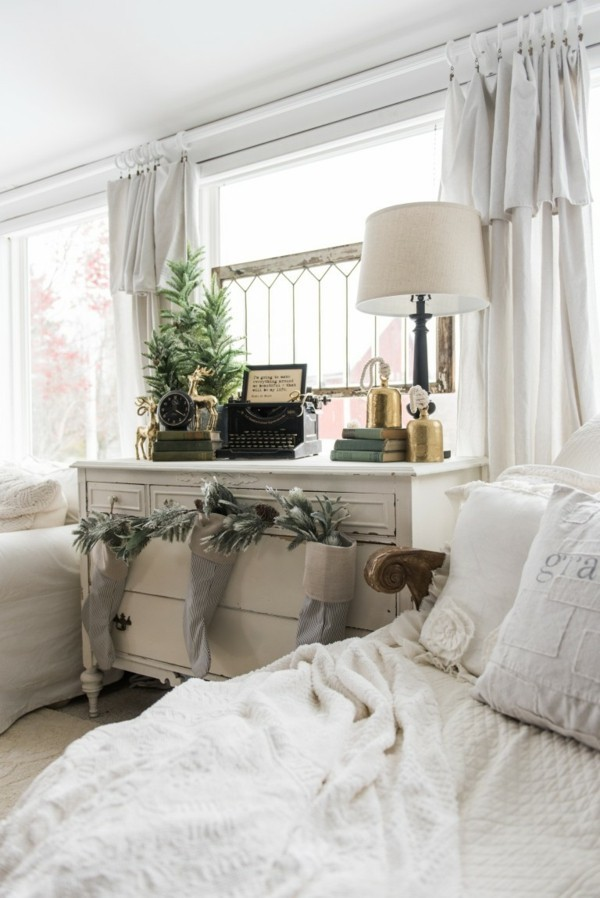 Weihnachtsdeko Landhausstil dezente weihnachtsdekoration helle einrichtung