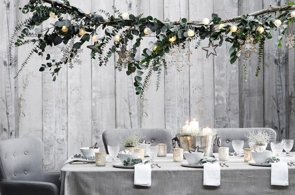 Weihnachtsdeko Landhausstil esstisch festlich dekorieren