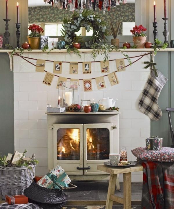 Weihnachtsdeko Landhausstil gemütliche atmosphäre küche