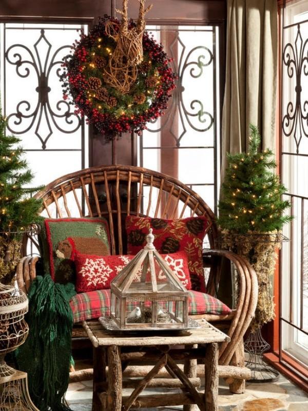 Weihnachtsdeko Landhausstil gemütlicher erholungsbereich schöne textilien