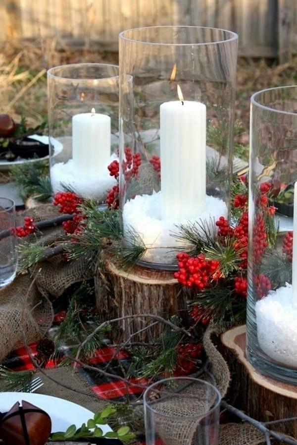 Weihnachtsdeko Landhausstil tischdeko hagebutten rustikale elemente