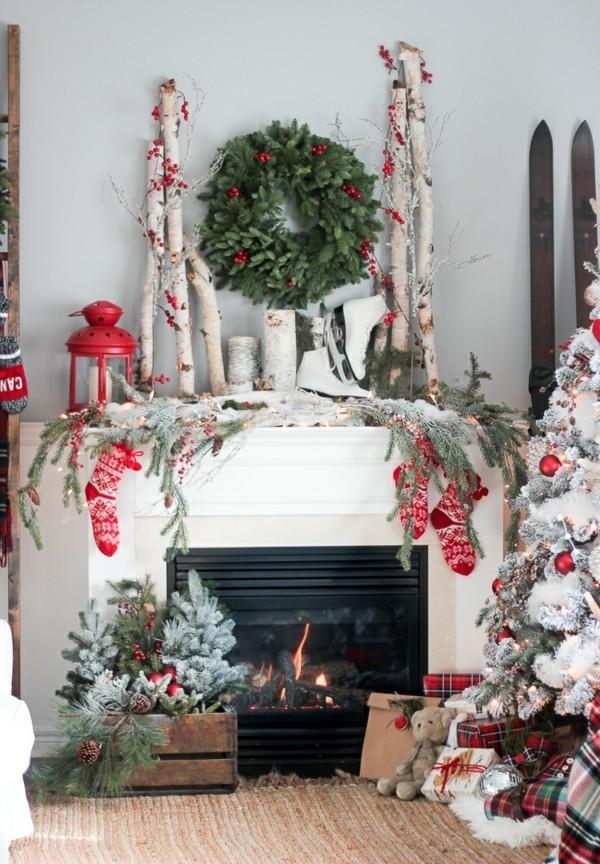 Weihnachtsdeko Landhausstil wohnzimmer dekoideen reichliche dekoration festliche stimmung