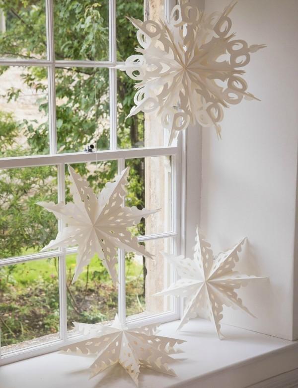 Weihnachtsdeko aus Papier Fensterdekoration