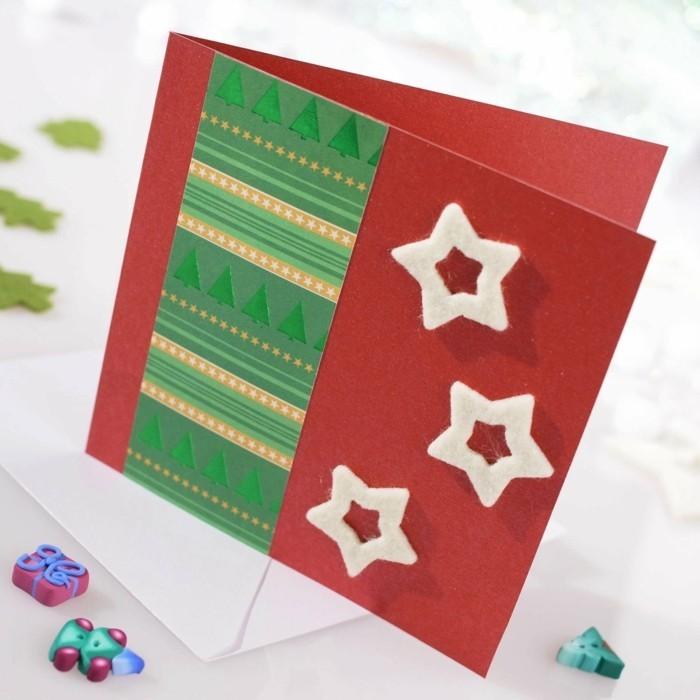 Weihnachtskarte selbst gestalten aufkleben