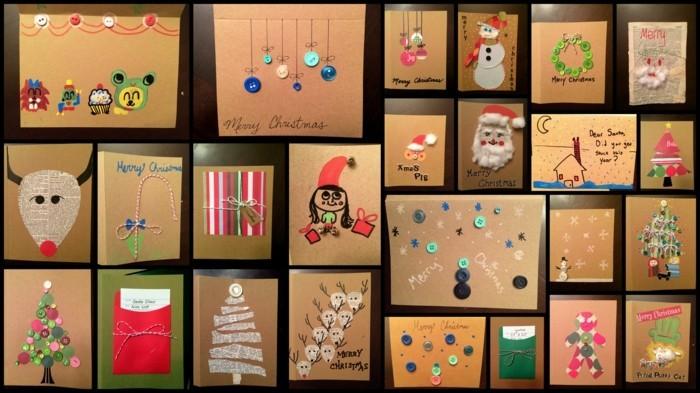 Weihnachtskarte selbst gestalten bunte ideen
