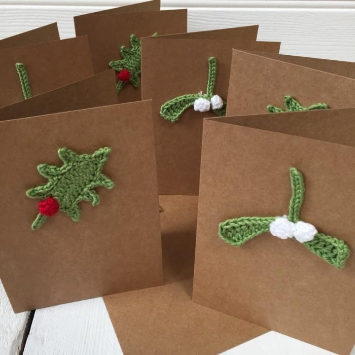 Weihnachtskarte selbst gestalten gehaekelt