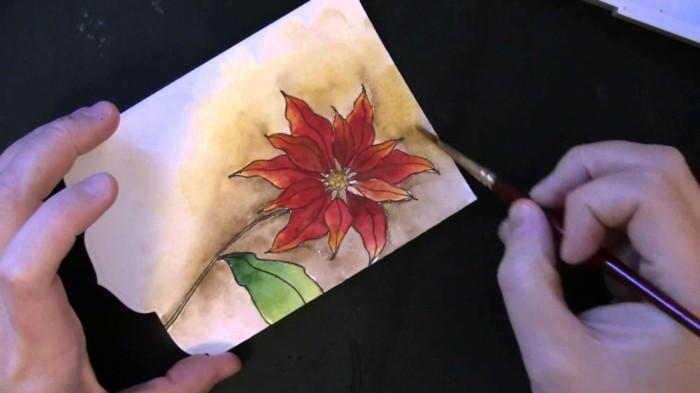 Weihnachtskarte selbst gestalten gemalt