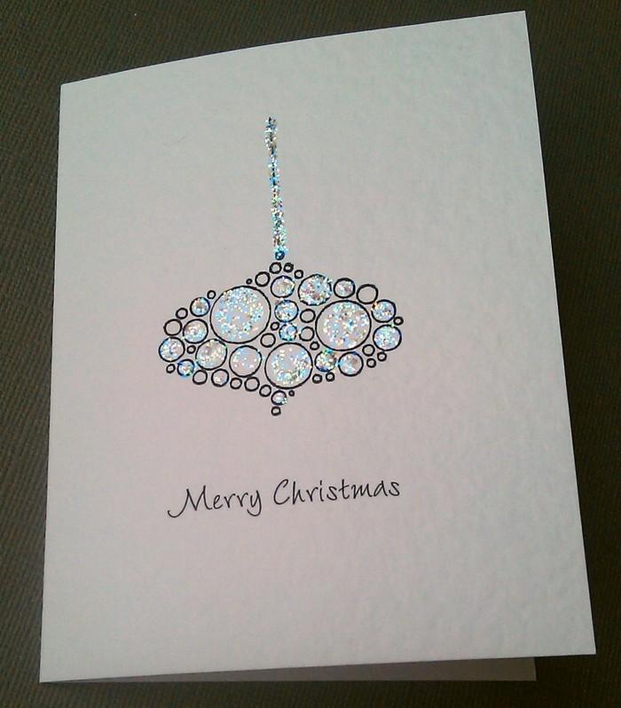 Weihnachtskarte selbst gestalten mit glitzer