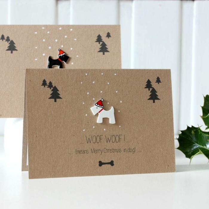 Weihnachtskarte selbst gestalten mit hund