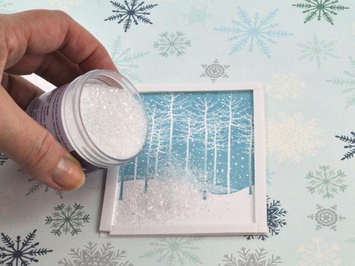 Weihnachtskarte selbst gestalten pop up mit glitzer