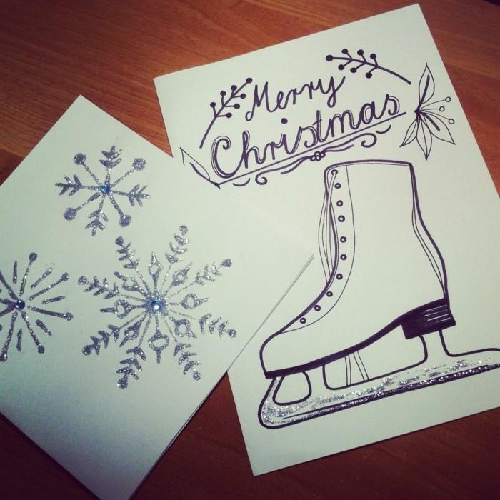 Weihnachtskarte selbst gestalten schlittschuhe