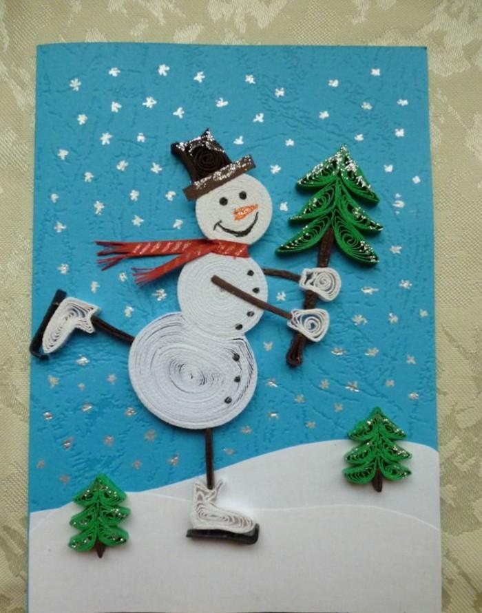 Weihnachtskarte selbst gestalten schneemann mit tannnebaum