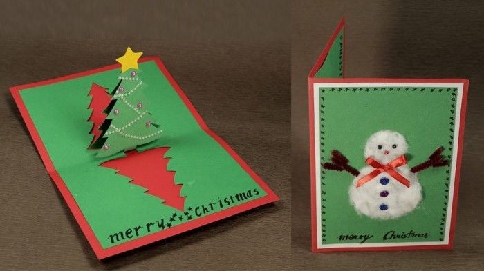 Weihnachtskarte selbst gestalten schneiden kleben