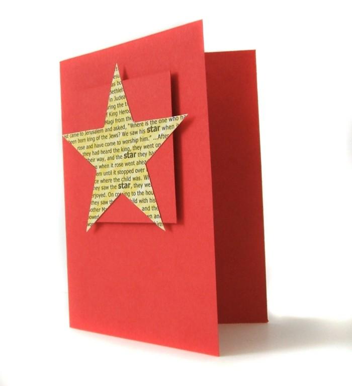 Weihnachtskarte selbst gestalten sterne basteln