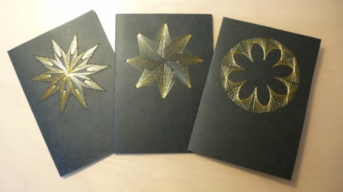 Weihnachtskarte selbst gestalten stickbilder besticken