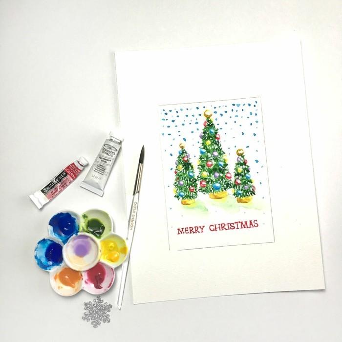 Weihnachtskarte selbst gestalten wasserfarbe technik