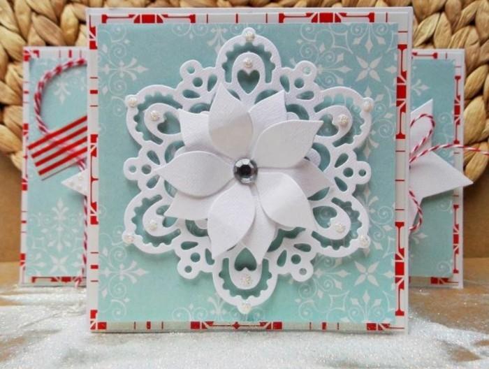 Weihnachtskarte selbst gestalten weihnachtsstern weiss